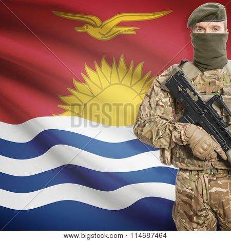 Soldier Holding Machine Gun With Flag On Background Series - Kiribati