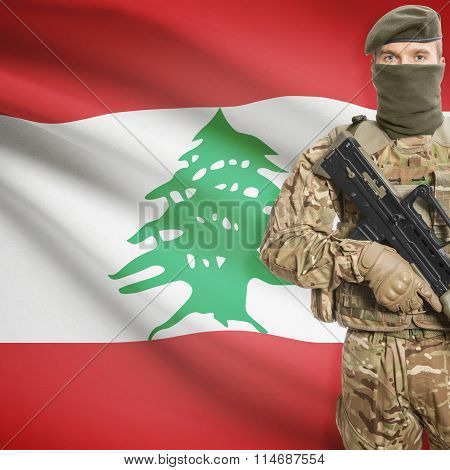 Soldier Holding Machine Gun With Flag On Background Series - Lebanon