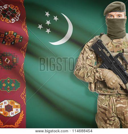 Soldier Holding Machine Gun With Flag On Background Series - Turkmenistan