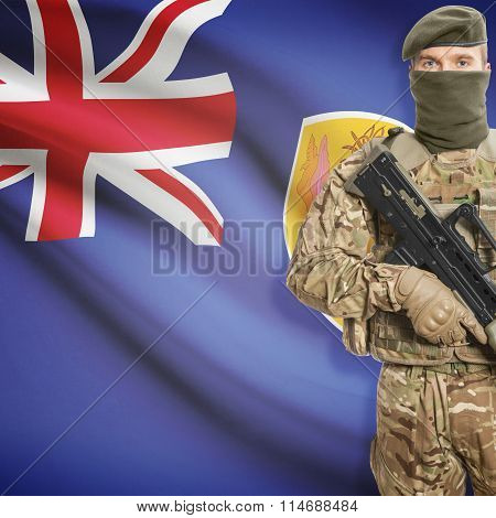 Soldier Holding Machine Gun With Flag On Background Series - Turks And Caicos Islands
