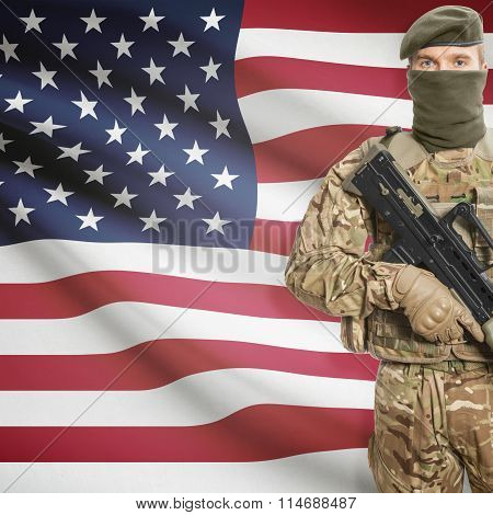 Soldier Holding Machine Gun With Flag On Background Series - United States