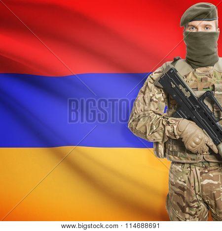 Soldier Holding Machine Gun With Flag On Background Series - Armenia