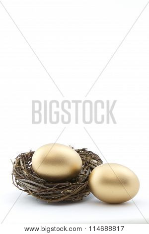 Copy space above in gold nest eggs vertical image