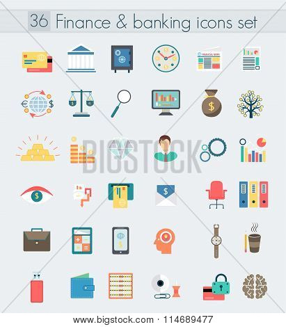 Finance banking modern design flat icons set. Money and business management symbol objects. Web elem