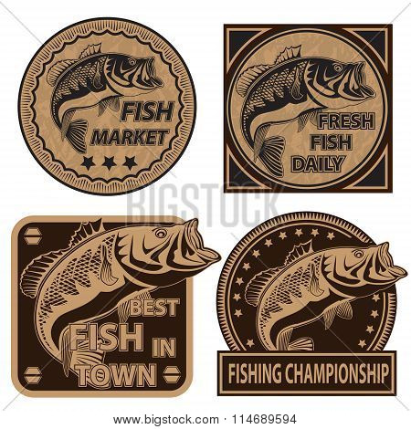 Peach Fish Fishing Logos Collection 1