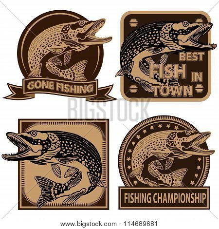 Pike Fish Fishing Logos Collection 1