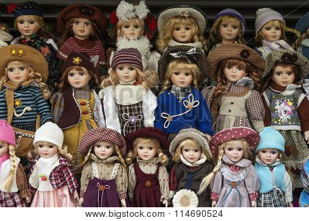 Prague,Czech Republic - January 11, 2016 : Prague souvenirs, traditional puppets made from wood in the gift shop.