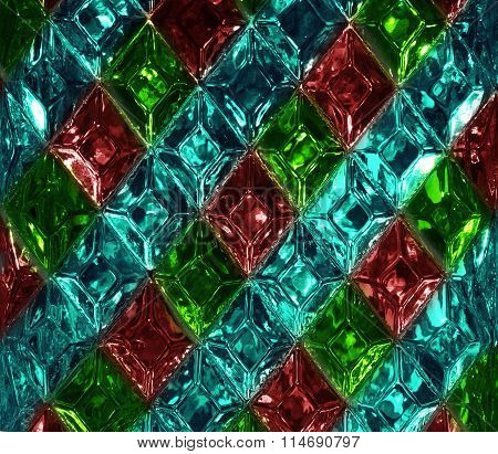Red, green, turquoise glass texture with a pattern of rhombuses. Clear glass diamond shape. Crystals