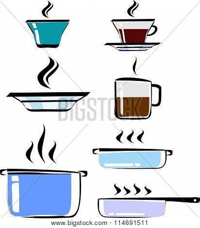 Set of hand drawn cookware, color, vector. Cups of tea and coffee, plate, pots, frying pan. Cookware
