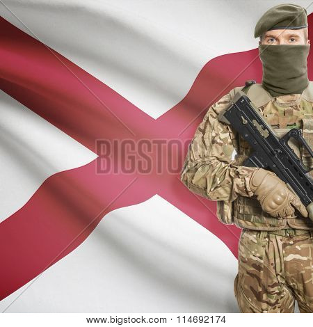 Soldier Holding Machine Gun With Usa State Flag On Background Series - Alabama