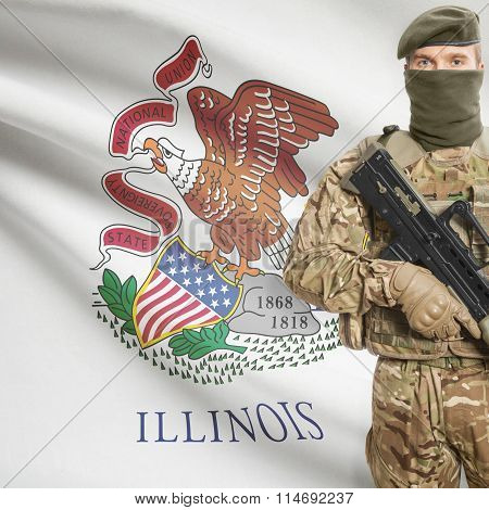 Soldier Holding Machine Gun With Usa State Flag On Background Series - Illinois