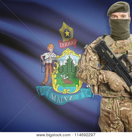Soldier Holding Machine Gun With Usa State Flag On Background Series - Maine