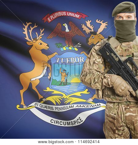 Soldier Holding Machine Gun With Usa State Flag On Background Series - Michigan