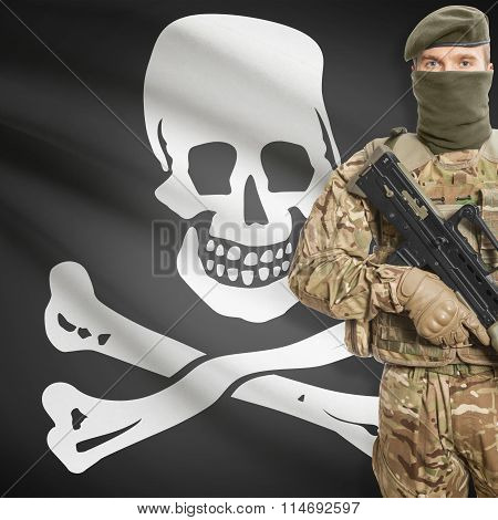 Soldier Holding Machine Gun With Flag On Background Series - Jolly Roger - Symbol Of Piracy