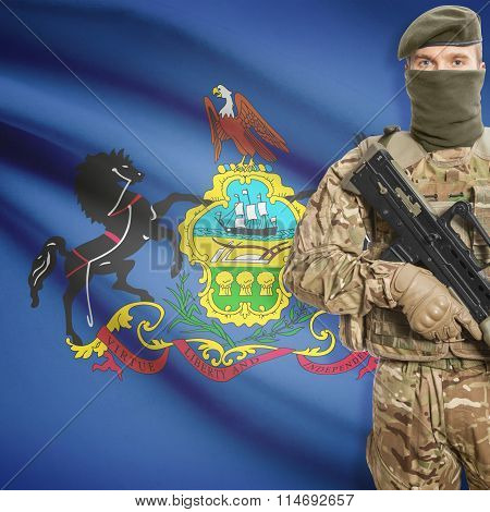 Soldier Holding Machine Gun With Usa State Flag On Background Series - Pennsylvania
