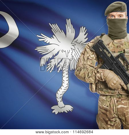 Soldier Holding Machine Gun With Usa State Flag On Background Series - South Carolina