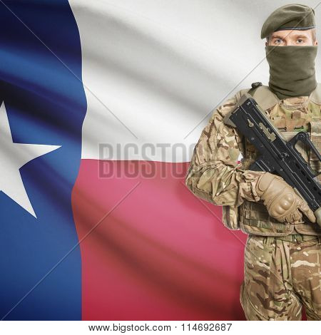 Soldier Holding Machine Gun With Usa State Flag On Background Series - Texas