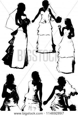 Vector set of black silhouettes of a young girl with beautiful hairstyle