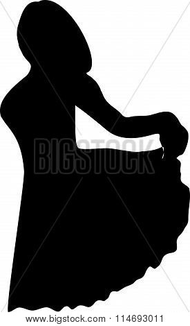 Black silhouette of a young girl in full growth, which pulls my hand on the edge of the dress