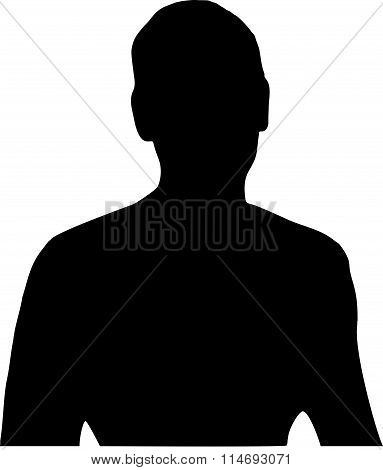 Black silhouette of a head and naked torso with a man's hand on white background in vector format