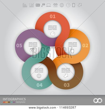5 options linked circles in origami style infographics presentation template