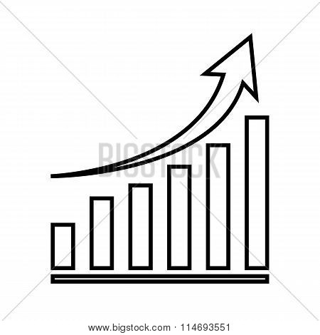 Growing graph line icon