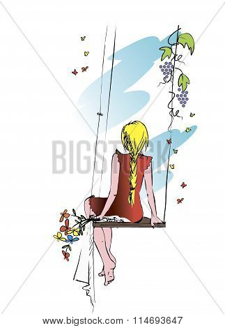 A young girl in a red dress, with yellow hair and a pigtail. Swinging on a swing, nature background