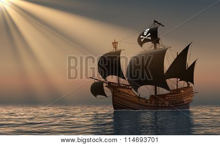 Pirate Ship In Rays Of The Sun.