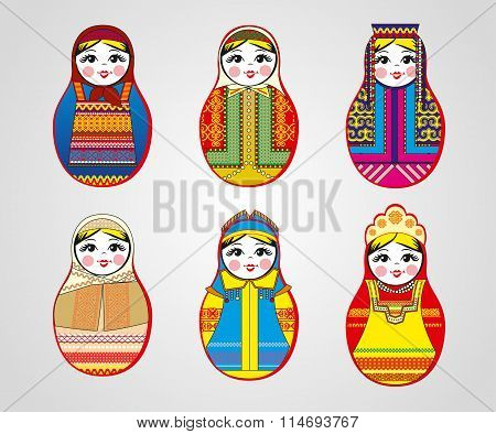 Matryoshka dolls in different outfits