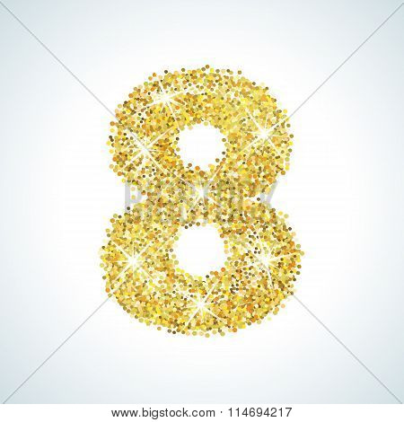 Eight number in golden style. Vector illustration gold design