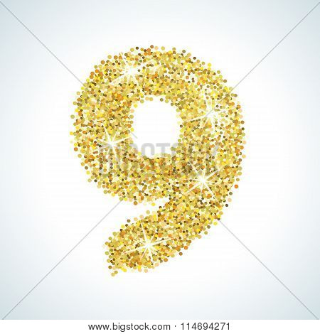 Nine number in golden style. Vector illustration gold design