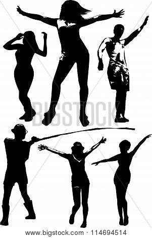 Vector set of black silhouettes of a girl and a young man in various poses in motion