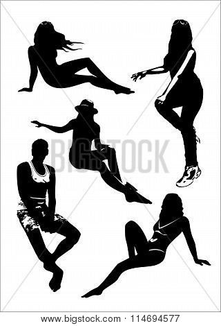 Stock Vector Illustration: Vector set of black silhouettes of girls and man in sitting poses full gr