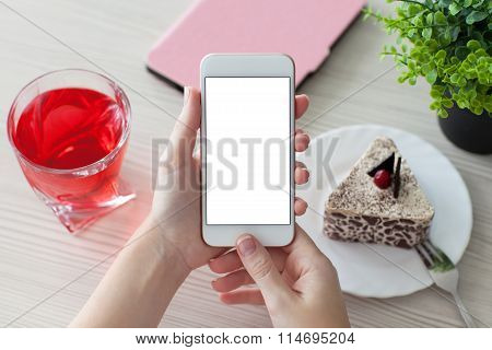 Woman Hands Holding Phone With Isolated Screen On Table In Cafe