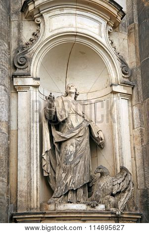 Dresden, Germany - April 27, 2010: Statues Of The Dresden Cathedral, Or The Cathedral Of The Holy Tr