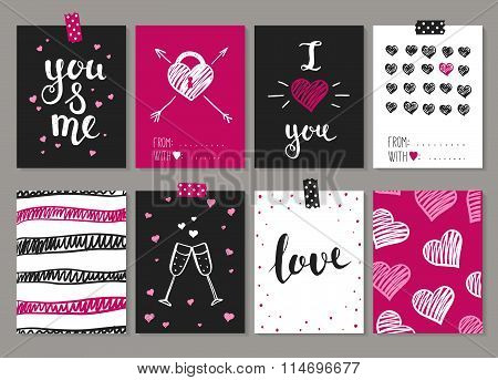 Collection Of 8 Cards Of Love Design. Valentine's Day Posters Set.