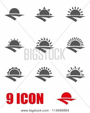 Vector Grey Sunrise Icon Set