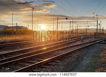 Railway, Railroad Lines At Sunset