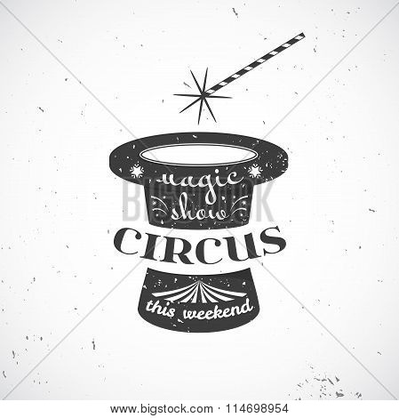 Circus vintage badge, vector illustration