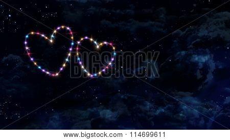 Double Hearts Star Night Sky