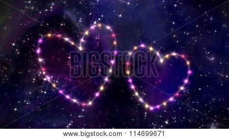 Pink Heart Of Star In Space