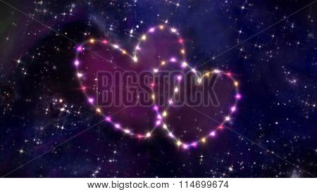 Pink Hearts Star In Space