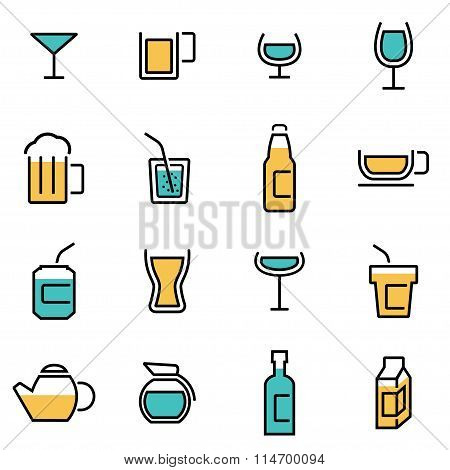 Trendy Flat Line Icon Pack For Designers And Developers. Vector Line Beverages Icon Set