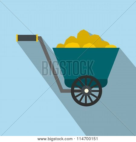 Trolley with gold ore flat icon