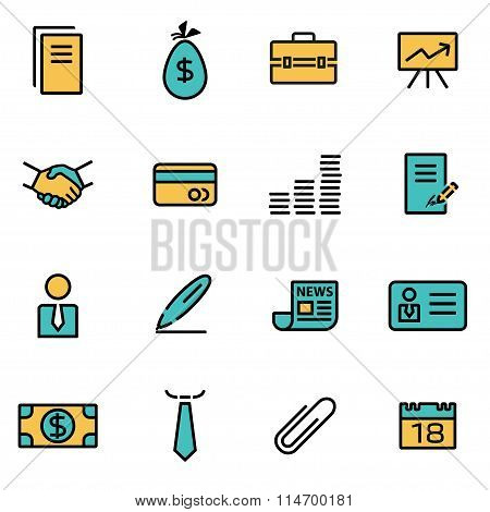 Trendy Flat Line Icon Pack For Designers And Developers. Vector Line Business Icon Set