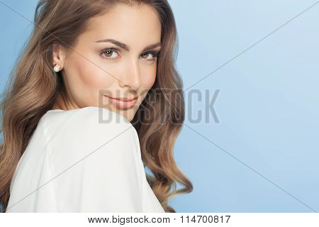 Young Woman Over Blue