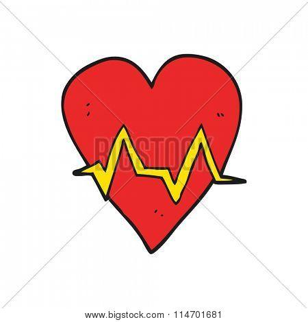 freehand drawn cartoon heart rate pulse symbol