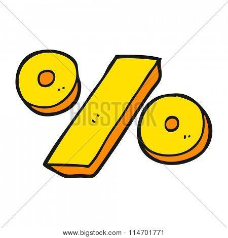 freehand drawn cartoon percentage symbol