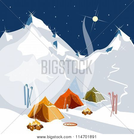 Vector Landscape  Camping in tents in the mountains tourism and extreme sports