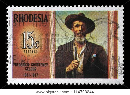 RHODESIA - CIRCA 1971: A stamp in Rhodesia shows Frederick Courteney Selous (1851-1917), explorer, big game hunter, series Famous Rhodesians, circa 1971